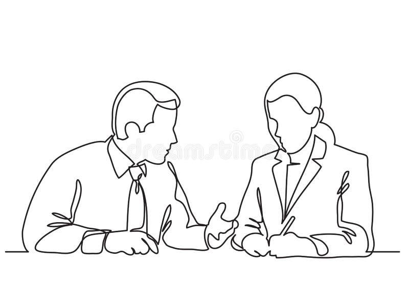 Zittingszakenman en bedrijfsvrouw die het werkproces bespreken - ononderbroken lijntekening stock illustratie