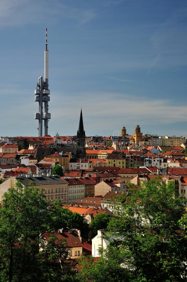 Zizkov与塔的区视图在布拉格,捷克 免版税库存图片