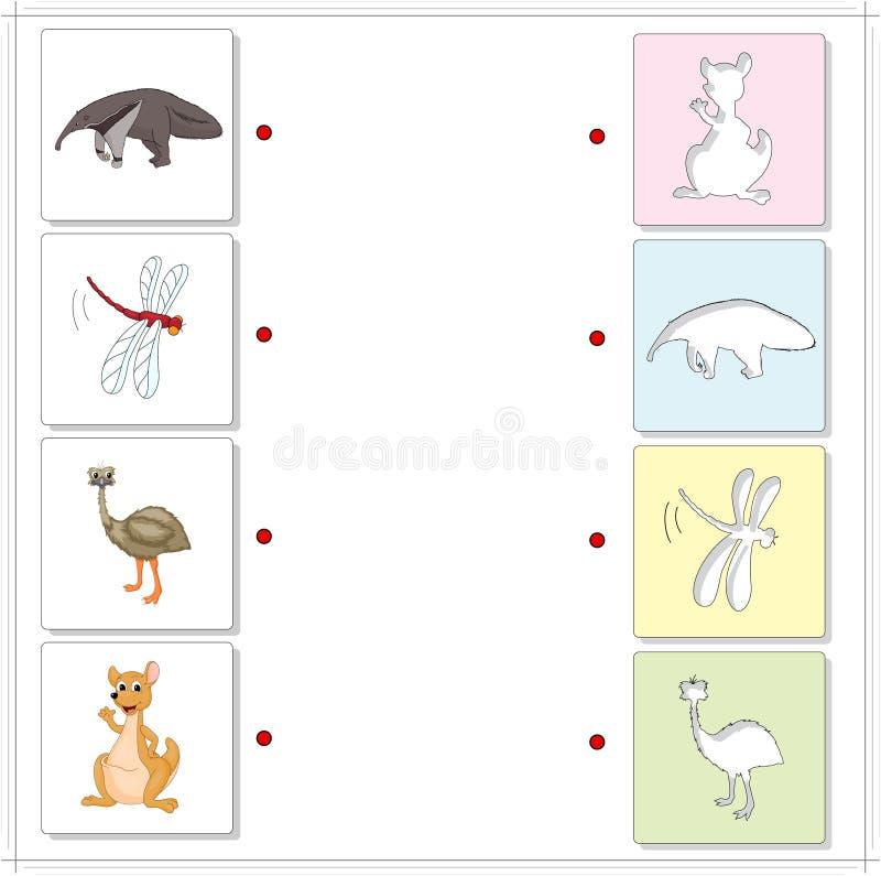 Zjadacz, dragonfly, emu i kangur, Edukacyjna gra dla dzieciaka royalty ilustracja