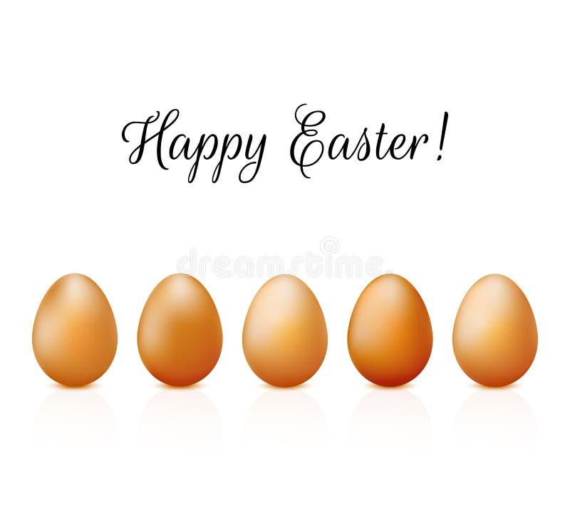 Zjadacz karta z realistycznymi jajkami ustawiającymi na białym tło wektorze royalty ilustracja