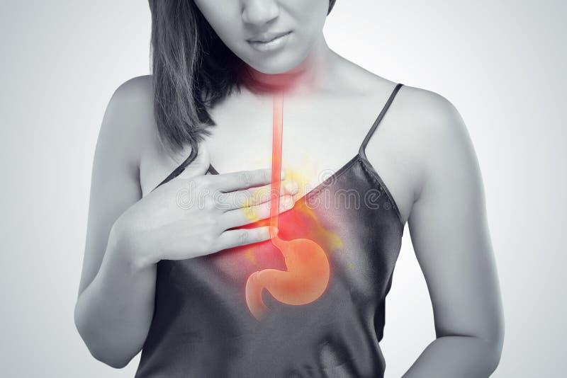 Zjadliwy reflux lub zgaga obraz stock