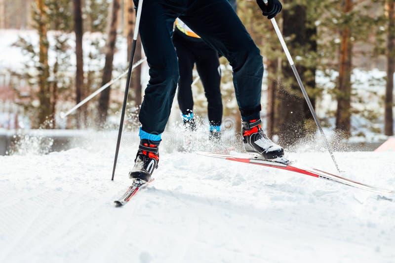 zjazdowe narciarki dwa obraz stock