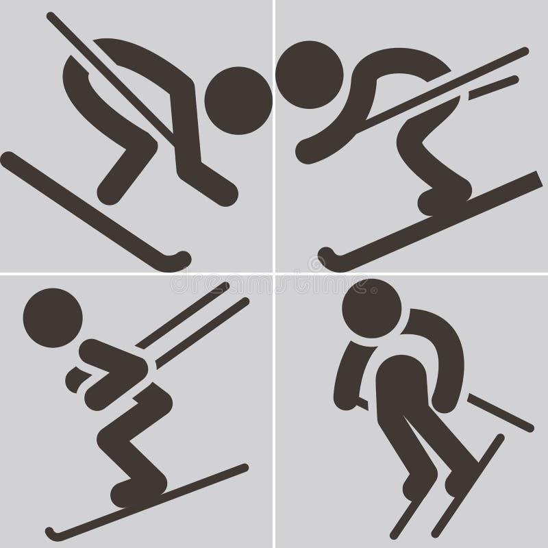 Zjazdowego narciarstwa ikony royalty ilustracja