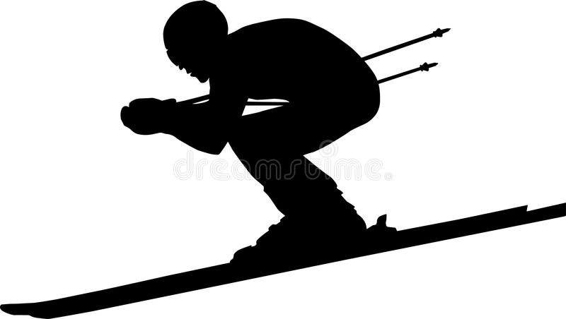 Zjazdowy mężczyzna atlety narciarstwo ilustracja wektor