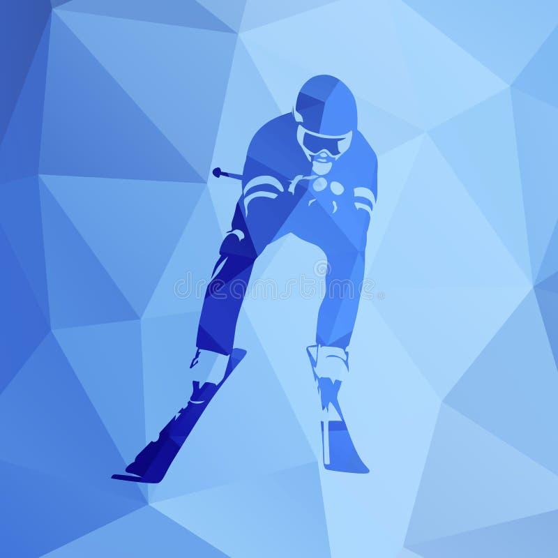 Zjazdowy narciarstwo, abstrakcjonistyczna geometryczna wektorowa sylwetka royalty ilustracja