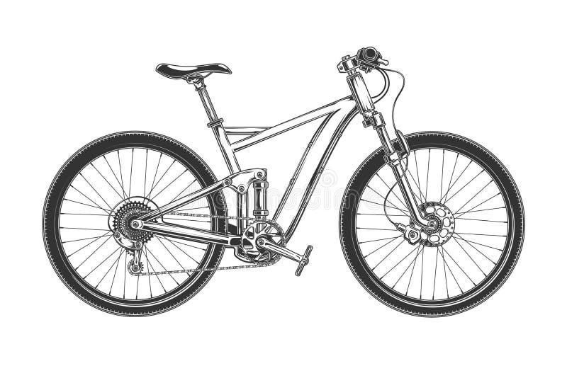 Zjazdowy przecinającego kraju bicykl grawerujący ilustracja wektor