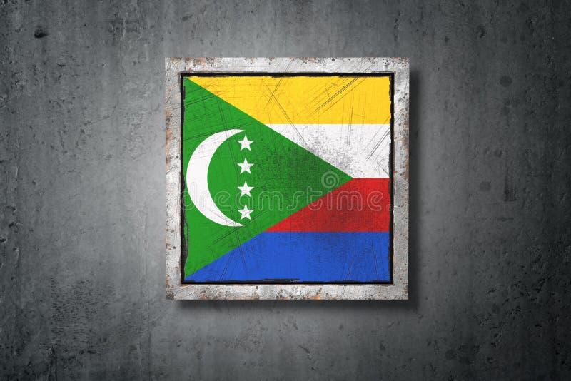 Zjednoczenie Comoros flaga w betonowej ścianie royalty ilustracja