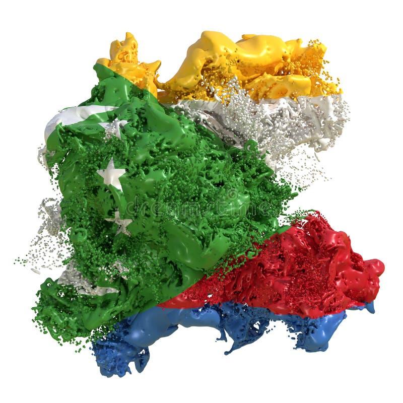 Zjednoczenie Comoros flagi ciecz royalty ilustracja