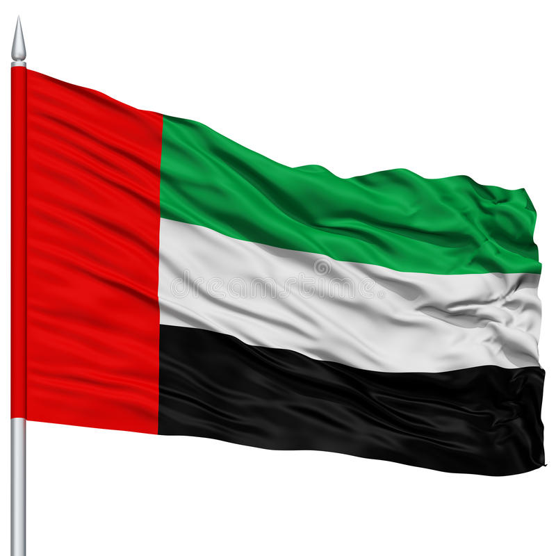 Zjednoczone Emiraty Arabskie flaga na Flagpole zdjęcia royalty free