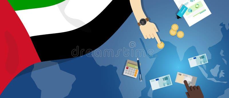 Zjednoczone Emiraty Arabskie gospodarki pieniądze handlu pojęcia fiskalna ilustracja pieniężny bankowość budżet z chorągwianą map ilustracja wektor