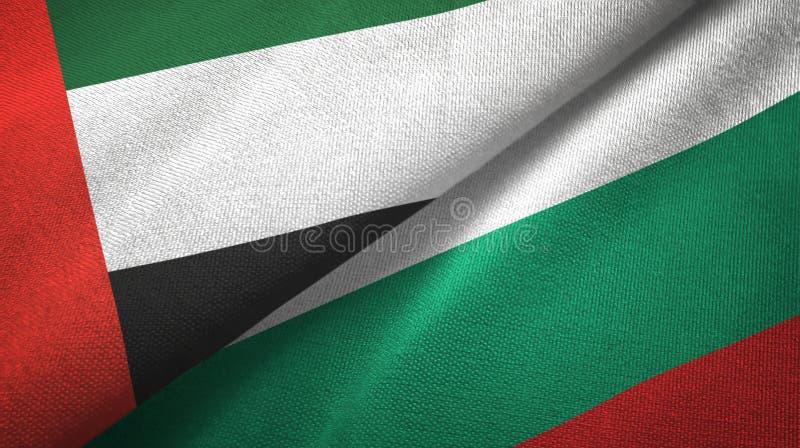 Zjednoczone Emiraty Arabskie i Bułgaria dwa flagi tekstylny płótno, tkaniny tekstura ilustracja wektor