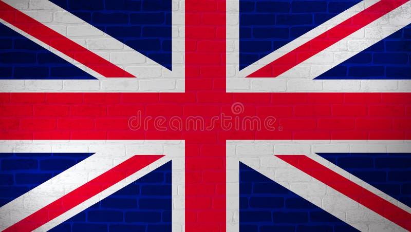 Zjednoczone Królestwo flaga państowowa malująca na ścianie z cegieł Kamiennej ściany tekstury tło Rocznika szablon dla tapety, pl royalty ilustracja