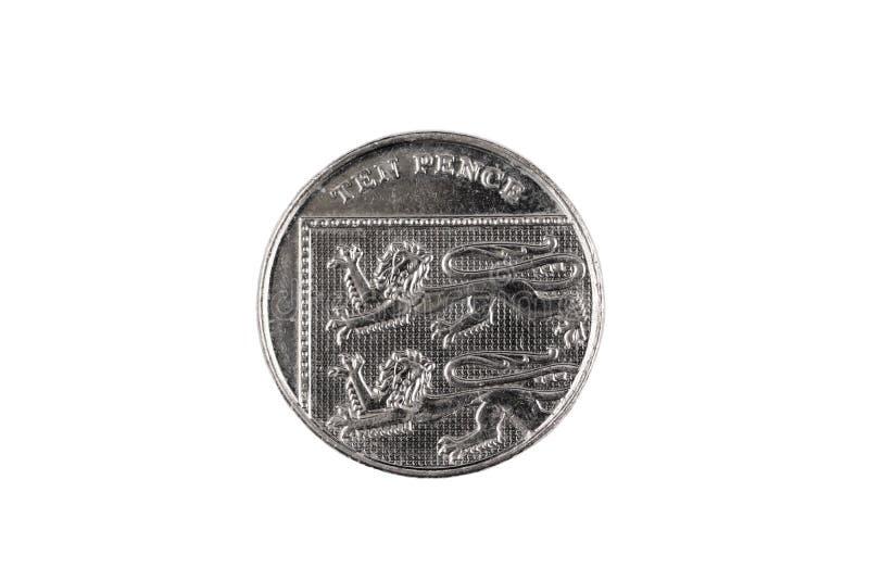 Zjednoczone Królestwo dziesięć pensa menniczy odosobniony na białym tle zdjęcie royalty free