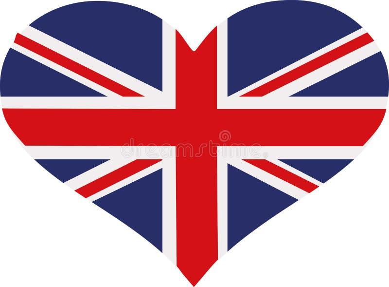 Zjednoczone Królestwo flaga serce royalty ilustracja