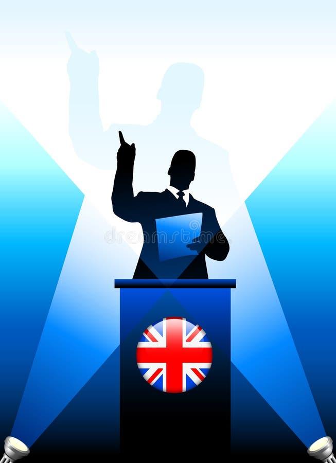 Zjednoczone Królestwo lider Daje mowie na scenie royalty ilustracja
