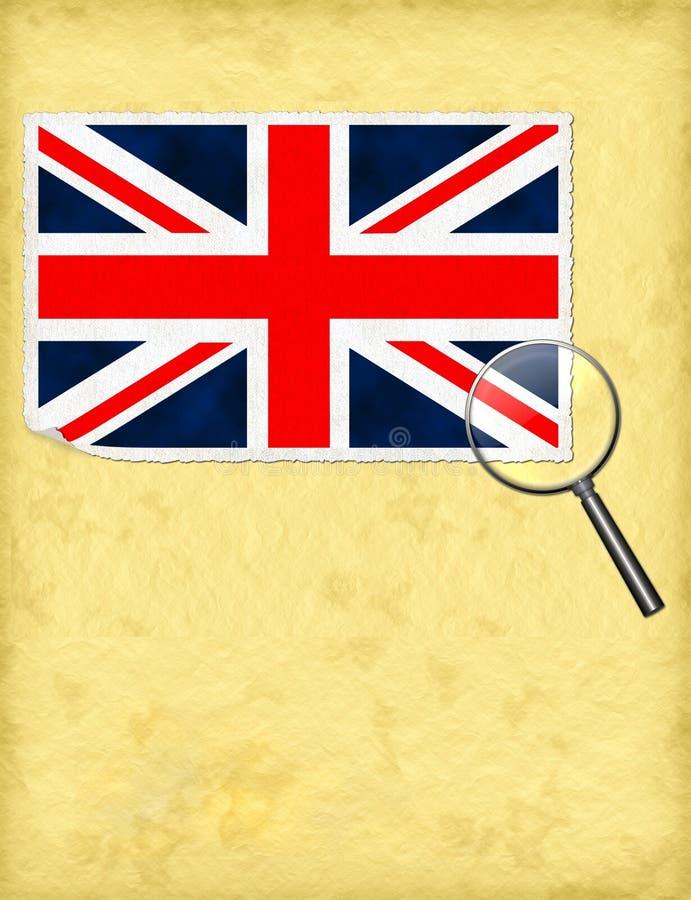 Zjednoczone Królestwo pod powiększać - szklany pojęcie, metafora ilustracja wektor