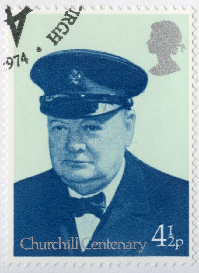 ZJEDNOCZONE KRÓLESTWO - 1974: przedstawienia Sir Winston Spencer Churchill 1874-1965, władyki Cinque porty 1942 Warden, polityk obrazy stock