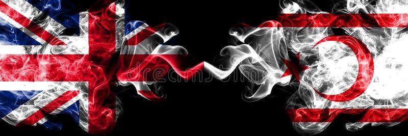 Zjednoczone Królestwo vs Północne dymiące tajemnicze flagi umieszczająca Cypr strona strona - obok - Gęste barwione silky d ilustracji