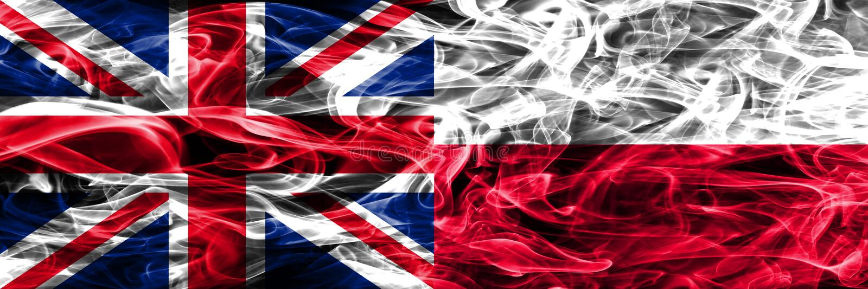 Zjednoczone Królestwo vs Polska dymu flaga umieszczająca strona strona - obok - Gęste barwione silky dymne flaga Wielki Brytania  fotografia stock