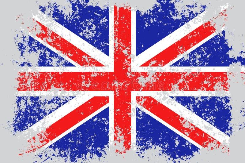 Zjednoczone Królestwo, Wielki Brytania, UK, GB grunge, stara, porysowana styl flaga, ilustracja wektor