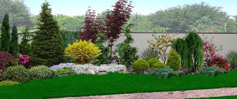 Zjednoczony spojrzenie kwitnienie ogród, 3d odpłaca się royalty ilustracja
