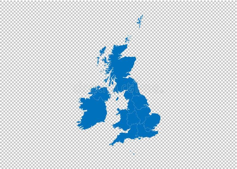 zlana królestwo mapa - wysokość wyszczególniał błękitną mapę z okręgami administracyjnymi, regionami, stanami zlany królestwo/ zl ilustracja wektor