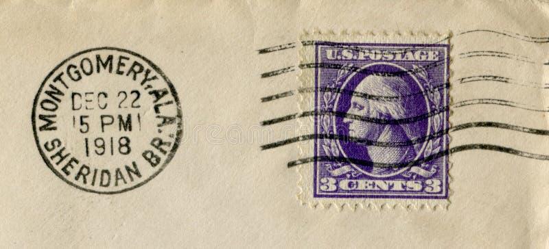 Zlani stany America - 22 1918 Dec: Amerykański dziejowy znaczek: trzy centu z George Washington z czarnym atramentem pocztowy ca zdjęcie royalty free