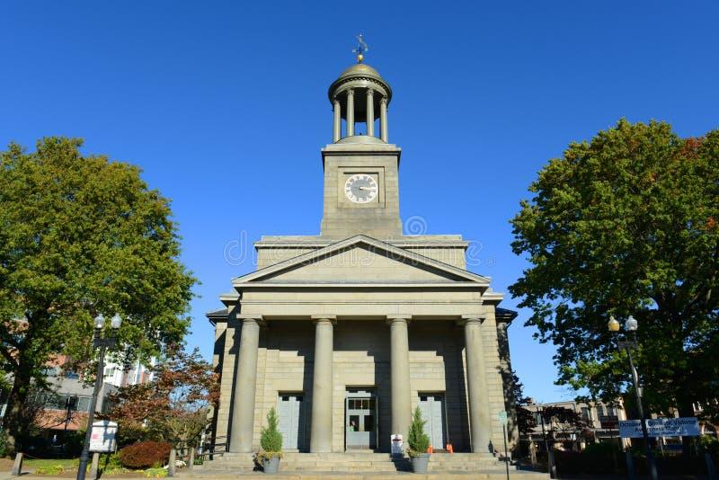 Zlany Pierwszy Farny kościół, Quincy, Massachusetts obraz stock