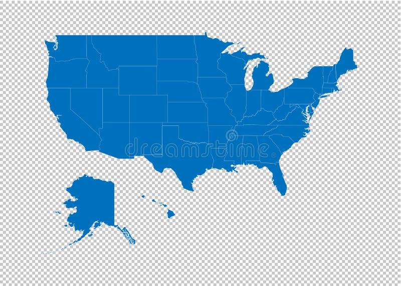 Zlany stan America mapa - wysokość wyszczególniał błękitną mapę z okręgami administracyjnymi, regionami, stanami Zlany stan Ameri royalty ilustracja