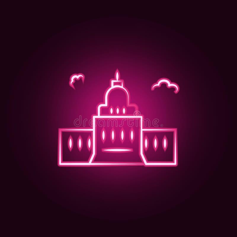 zlanych stanów neonowa ikona Elementy podróż set Prosta ikona dla stron internetowych, sieć projekt, mobilny app, ewidencyjne gra royalty ilustracja
