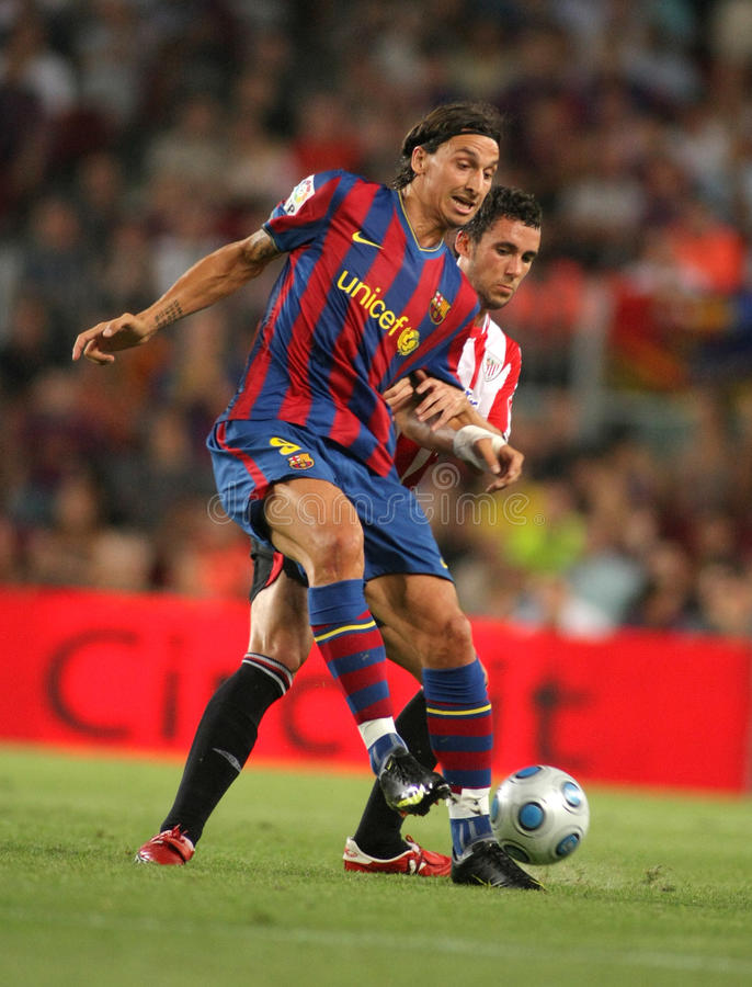 Zlatan Ibrahimovic. Futbol Club Barcelona's new international Swedish forward Zlatan Ibrahimovic during Spanish Supercup football match between Barcelona vs royalty free stock image