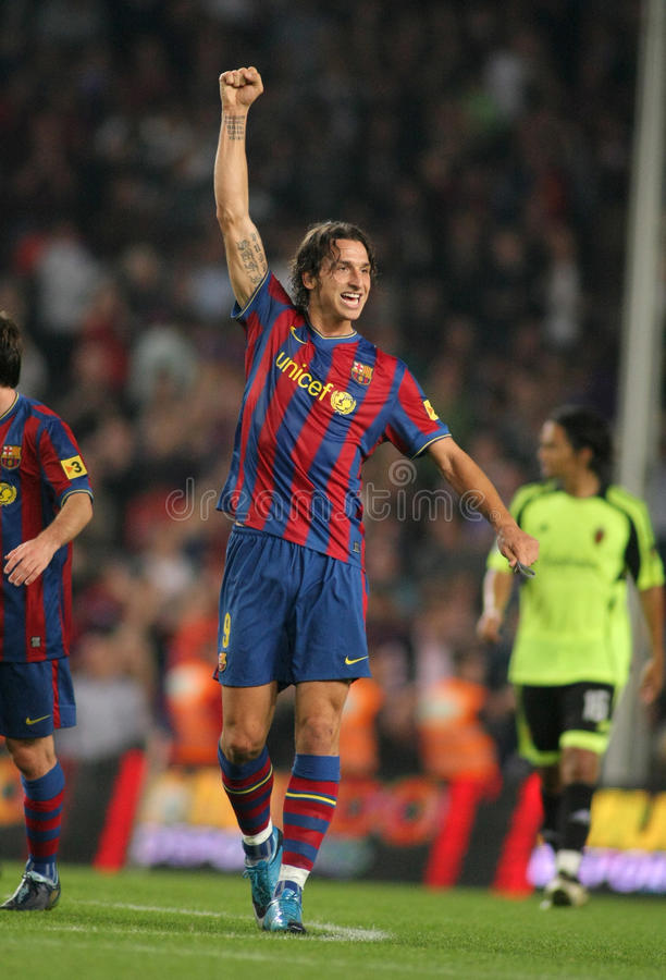 Zlatan Ibrahimovic. Swedish Zlatan Ibrahimovic of Barcelona celebrates goal during Spanish league match, Barcelona vs Zaragoza at the New Camp Stadium on October stock photo
