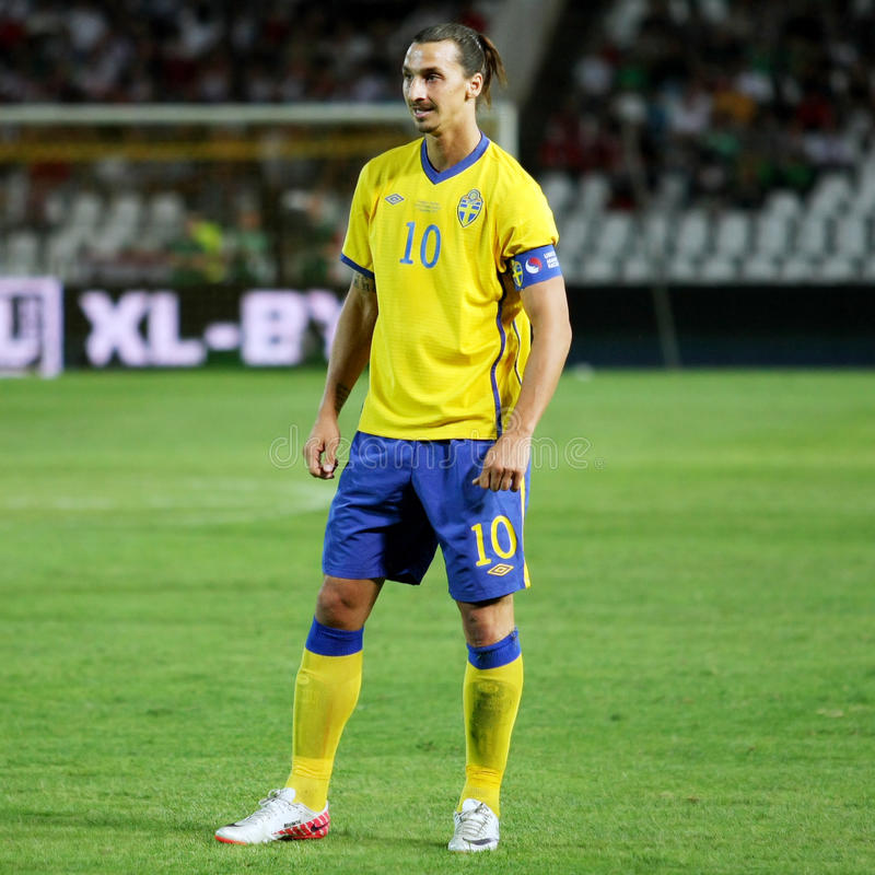 Zlatan Ibrahimovic. Swedish Player Zlatan Ibrahimovic at the football match between Hungary vs. Sweden at Puskas Ferenc Stadium in Budapest, Hungary. September 2 royalty free stock photography