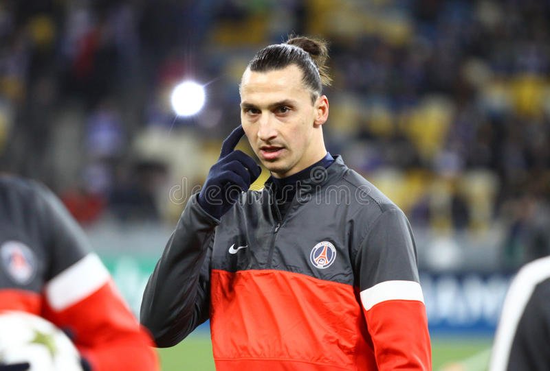 Zlatan Ibrahimovic of FC Paris Saint-Germain. KYIV, UKRAINE - NOVEMBER 21, 2012: Zlatan Ibrahimovic of FC Paris Saint-Germain looks on during training session stock images