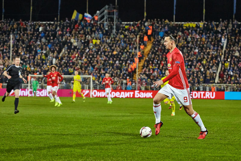 Zlatan Ibrahimovic Feyenoord Game moments in match. 1/8 finals of the Europa League between FC `Rostov` and `Manchester United`, 09 March 2017 in Rostov-on-Don stock image