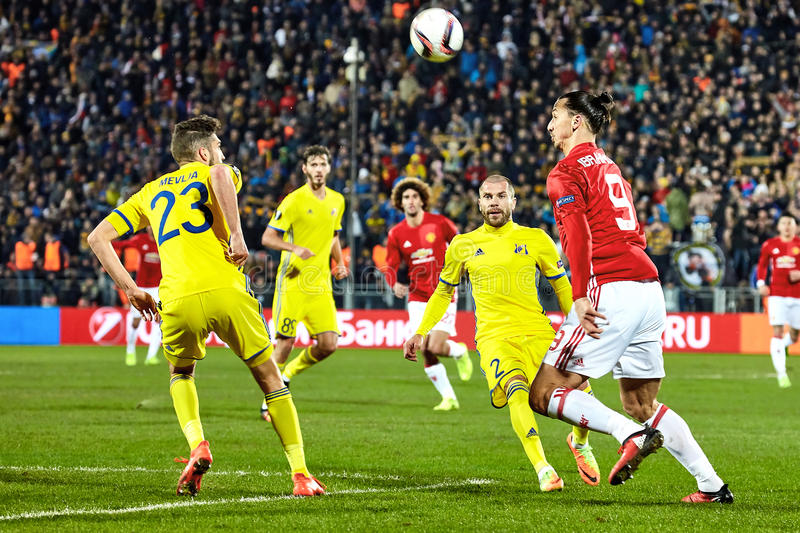 Zlatan Ibrahimovic Feyenoord Game moments in match. 1/8 finals of the Europa League between FC `Rostov` and `Manchester United`, 09 March 2017 in Rostov-on-Don stock images