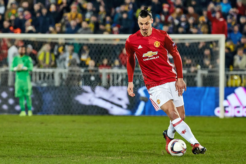 Zlatan Ibrahimovic Feyenoord Game moments in match. 1/8 finals of the Europa League between FC `Rostov` and `Manchester United`, 09 March 2017 in Rostov-on-Don royalty free stock images