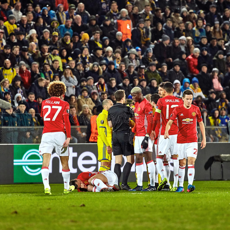 Zlatan Ibrahimovic Feyenoord , Game moments. In match 1/8 finals of the Europa League between FC `Rostov` and `Manchester United`, 09 March 2017 in Rostov-on stock image