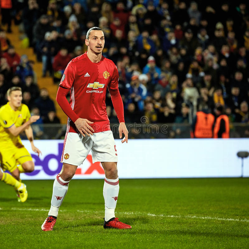 Zlatan Ibrahimovic Feyenoord Game moments. In match 1/8 finals of the Europa League between FC `Rostov` and `Manchester United`, 09 March 2017 in Rostov-on-Don stock photography