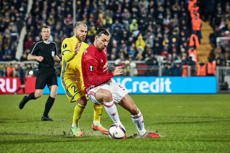 Zlatan Ibrahimovic Feyenoord Game moments. In match 1/8 finals of the Europa League between FC `Rostov` and `Manchester United`, 09 March 2017 in Rostov-on-Don stock photos