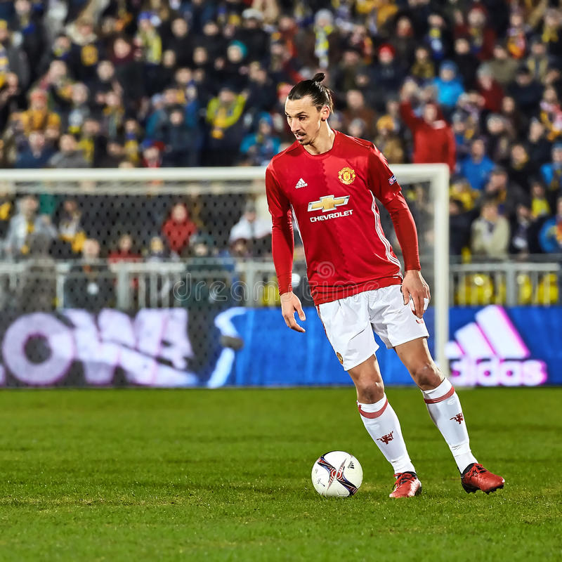 Zlatan Ibrahimovic Feyenoord Game moments. In match 1/8 finals of the Europa League between FC `Rostov` and `Manchester United`, 09 March 2017 in Rostov-on-Don stock photo