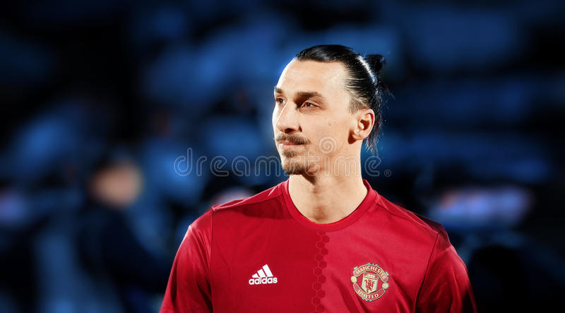 Zlatan Ibrahimovic Feyenoord in match. 1/8 finals of the Europa League between FC `Rostov` and `Manchester United`, 09 March 2017 in Rostov-on-Don, Russia stock photos