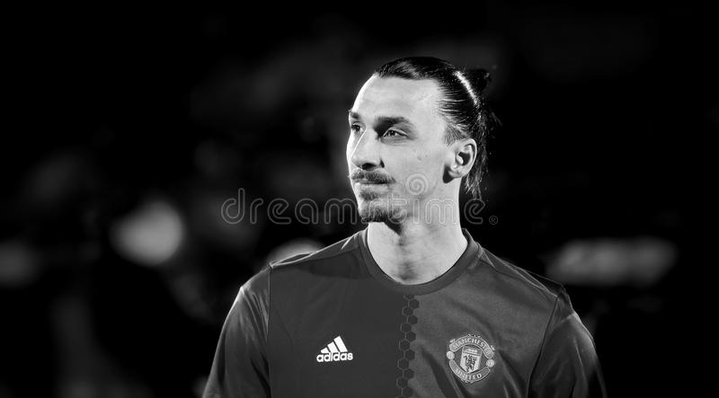 Zlatan Ibrahimovic Feyenoord in match. 1/8 finals of the Europa League between FC `Rostov` and `Manchester United`, 09 March 2017 in Rostov-on-Don, Russia stock photo