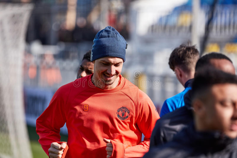 Zlatan Ibrahimovic Feyenoord on during training session. Before match 1/8 finals of the Europa League between FC `Rostov` and `Manchester United`, 08 March 2017 royalty free stock images