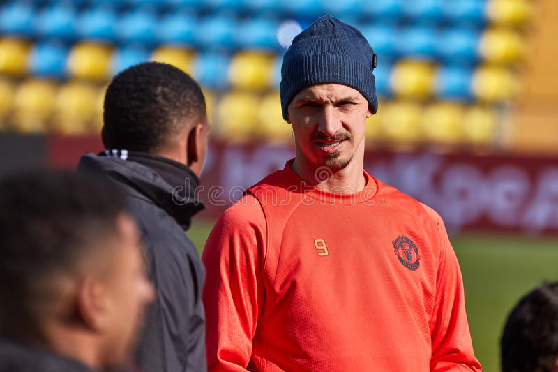 Zlatan Ibrahimovic Feyenoord on during training session. Before match 1/8 finals of the Europa League between FC `Rostov` and `Manchester United`, 08 March 2017 stock image