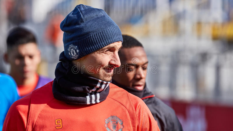 Zlatan Ibrahimovic Feyenoord on during training session. Before match 1/8 finals of the Europa League between FC `Rostov` and `Manchester United`, 08 March 2017 stock photography
