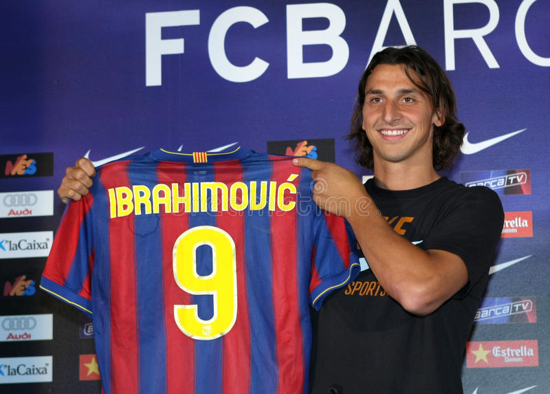Zlatan Ibrahimovic presentation. Futbol Club Barcelona's new international Swedish forward Zlatan Ibrahimovic during his official presentation after signing with royalty free stock images