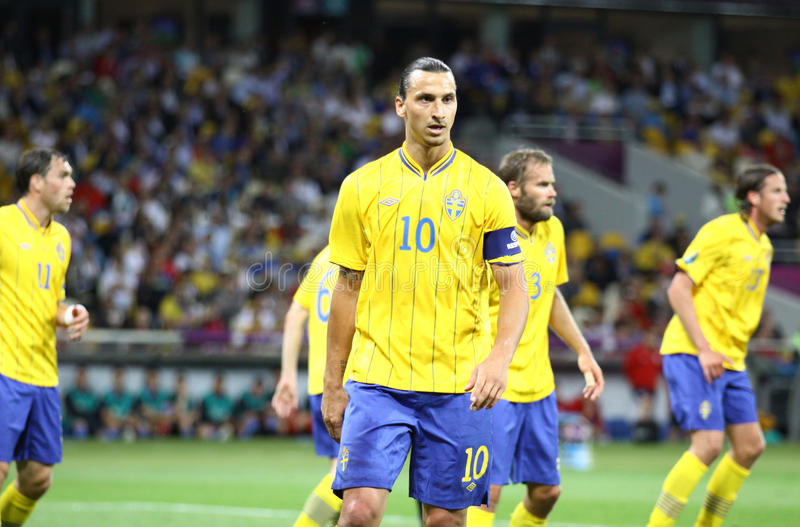 Zlatan Ibrahimovic of Sweden. KYIV, UKRAINE - JUNE 15, 2012: Zlatan Ibrahimovic of Sweden looks on during UEFA UERO 2012 game against England on June 15, 2012 in royalty free stock photos