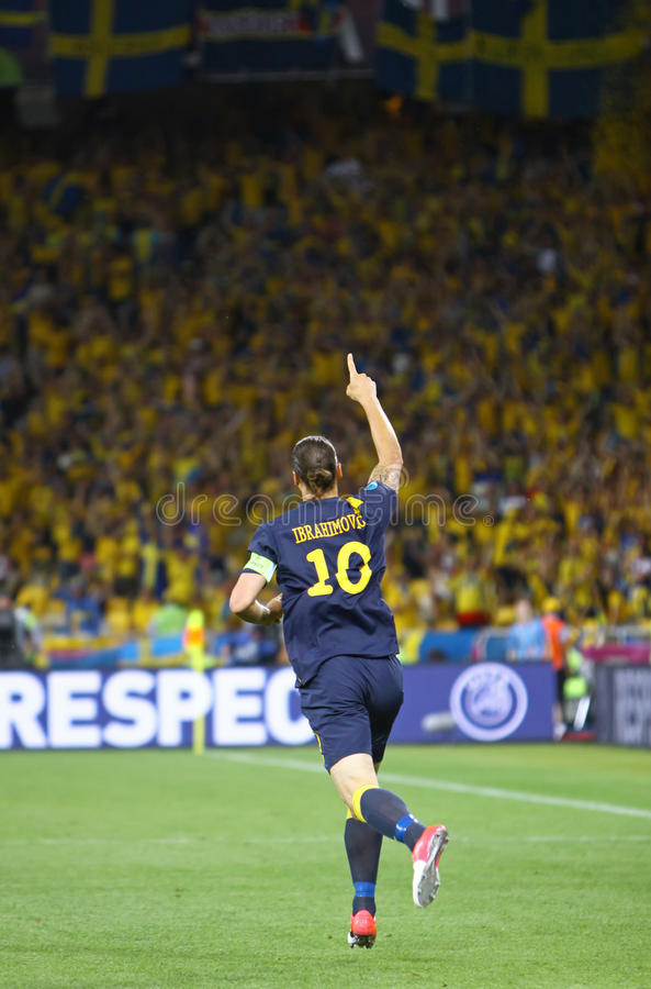 Zlatan Ibrahimovic of Sweden. KYIV, UKRAINE - JUNE 11, 2012: Zlatan Ibrahimovic of Sweden reacts after score against Ukraine during their UEFA EURO 2012 game at royalty free stock photography