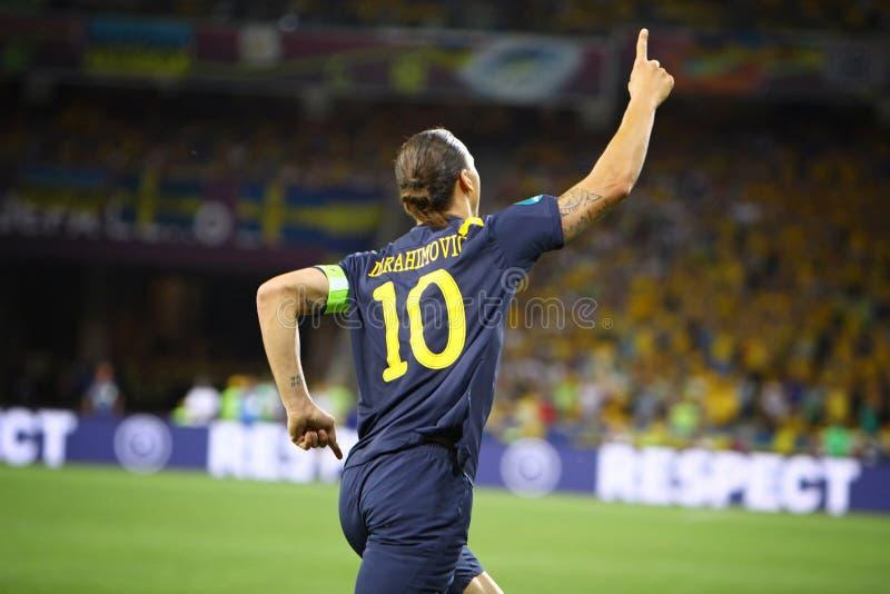 Zlatan Ibrahimovic of Sweden. KYIV, UKRAINE - JUNE 11, 2012: Zlatan Ibrahimovic of Sweden reacts after score against Ukraine during their UEFA EURO 2012 game at stock photography